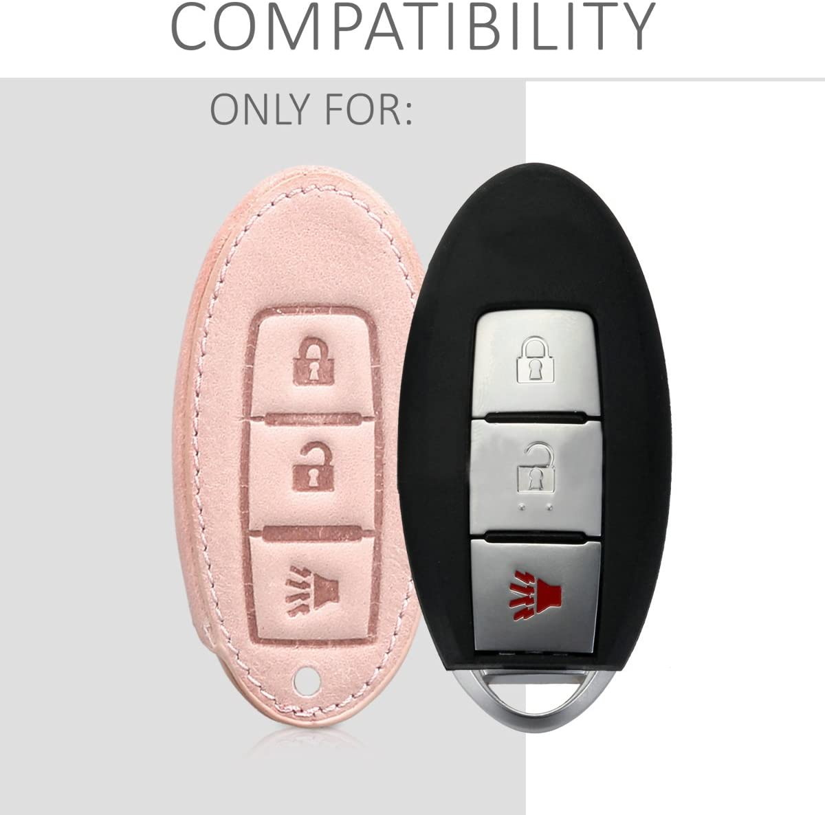 kwmobile Car Key Cover Compatible with Nissan 3 Button Car Key PU Leather Car Key Fob Cover Dont Touch My Key White//Rose Gold