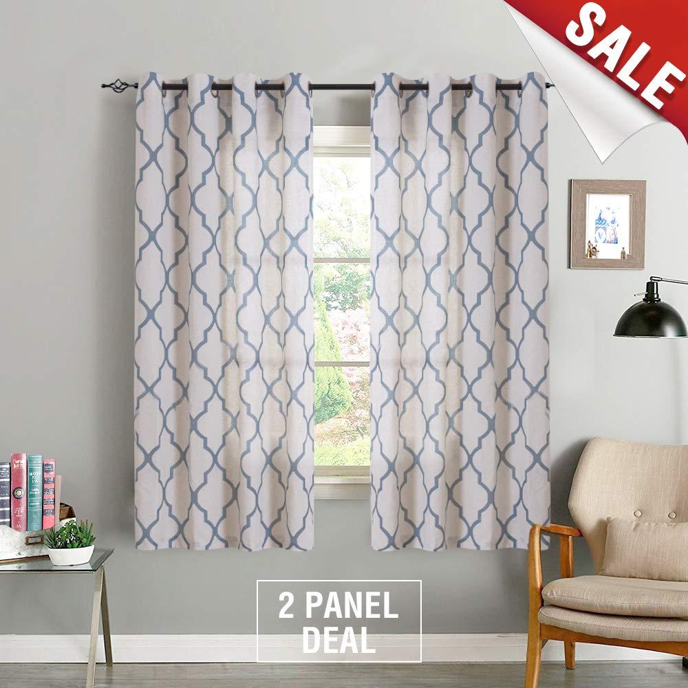 jinchan Moroccan Print Curtains for Bedroom- Quatrefoil Flax Linen Blend Textured Geometry Lattice Grommet Window Treatment Set for Living Room - 50'' W x 72'' L - (2 Panels, Blue)