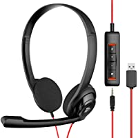 NUBWO USB Headset with Microphone for Laptop PC, headphones with Noise Cancelling Microphone for Computer, On-Ear Wired…