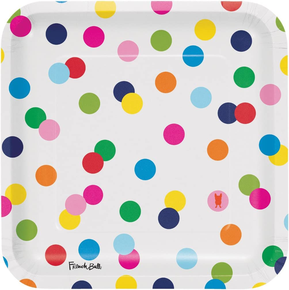 Creative Converting Party Supplies French Bull Dots-9-Inch Square Dinner Plate, 10-Count, Dinner, Birthday Dots