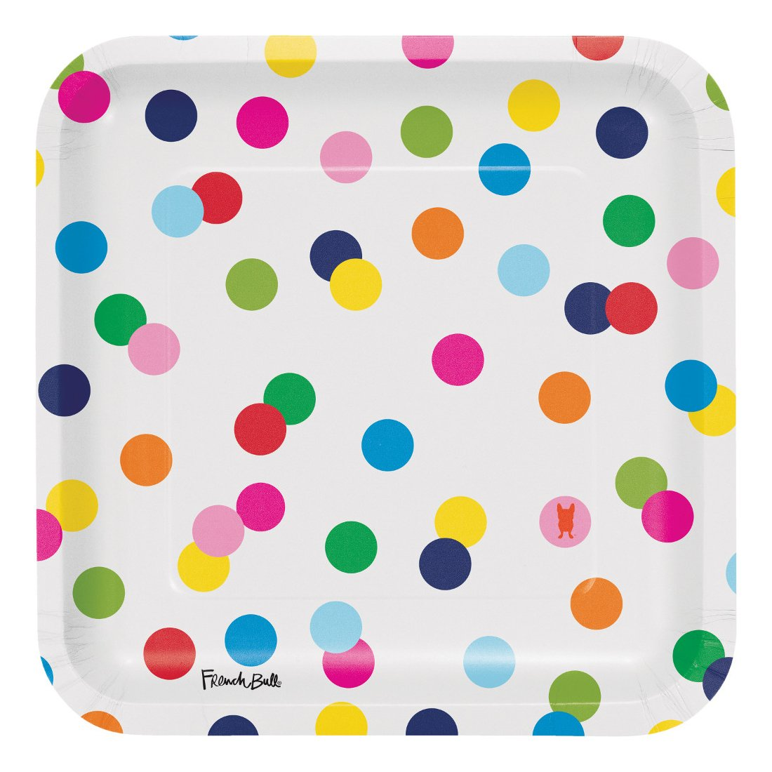 Creative Converting 322129 Party Supplies French Bull Dots-9-Inch Square Dinner Plate, 10-Count, Dinner, Birthday Dots by Creative Converting