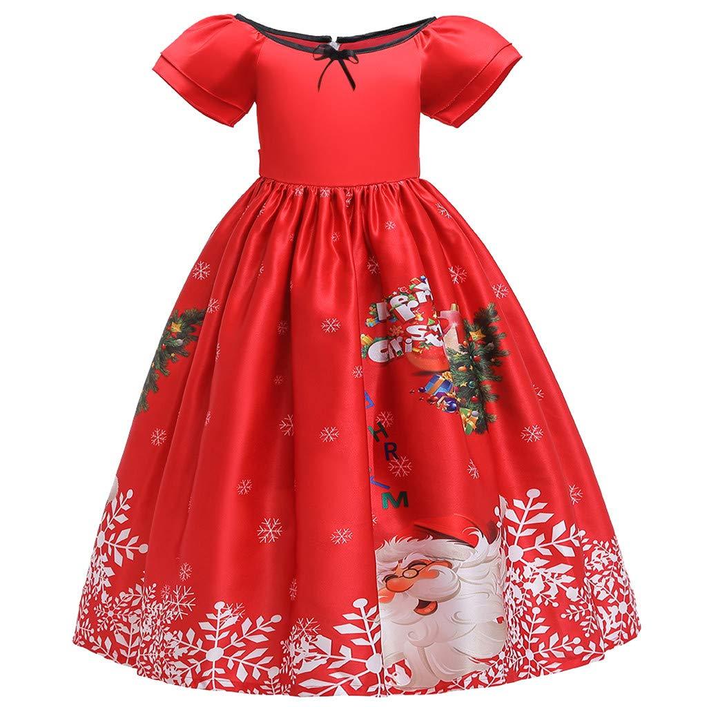 Teen Child Girl Christmas Princess Dress Kids Girls Santa Print Short Sleeve Pageant Casual Party Wedding Gown (Age:14-15 Years, Red) by FDSD Baby Clothes