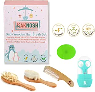Baby Wooden Hair Brush Comb Set | Ultra Soft Natural Goat Hair Brush for Cradle Cap | Wooden Bristles Brush for Massage | Wooden Comb | Grooming Kit - Silicone Brush Bath for Boy & Girl | Ideal for Newborn Babies Infant Kids | Baby Shower & Registry
