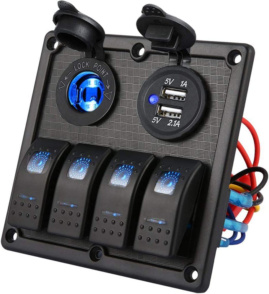 Kohree 4 Gang Marine Boat Rocker Switch Panel, 12V Waterproof LED Lighted Toggle Switches Fuse Breaker Protected Control with 12 Volt Marine USB Power Outlet for Car Boat RV Scooter Truck Vehicles