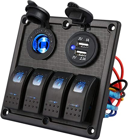 [DVZP_7254]   Amazon.com : Kohree 4 Gang Marine Boat Rocker Switch Panel, 12V Waterproof  LED Lighted Toggle Switches Fuse Breaker Protected Control with 12 Volt  Marine USB Power Outlet for Car Boat RV Scooter | Led 12 Volt Dc Toggle Switch Wiring Diagram |  | Amazon.com
