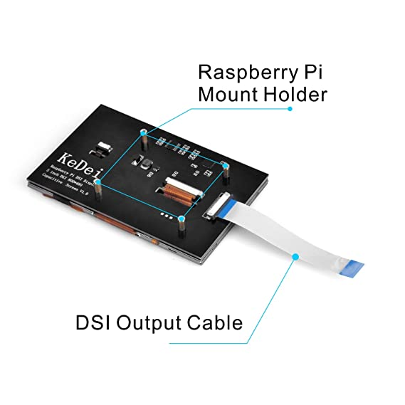OSOYOO 5 Inch TFT Capacitive Touch Screen DSI Connector LCD Display Monitor 800x480 Resolution for Raspberry Pi 2 3 3B+: Amazon.es: Electrónica