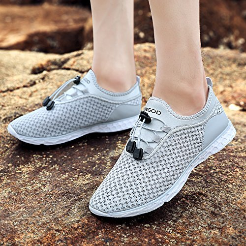Drying YUNGOD Athletic on Slip Walking Shoes Lightweight 1 grey Aqua Men's Women's Shoes Quick Water and IvWnfCrqI