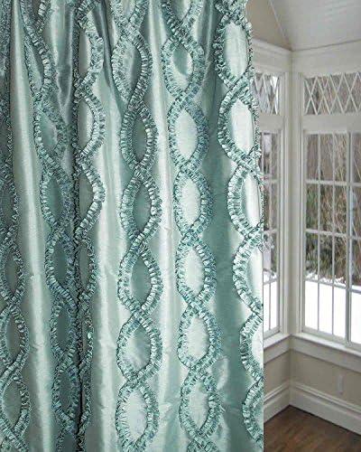 Blue trellis faux silk living room lined window curtain panel 52 W X 120 L