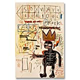 Jean-Michel Basquiat Original Graffiti Art With Strings Two 1983 Canvas Paintings Hand Painted Reproduction Unframed Tablet - 32X48 inch (81X122 cm) for Living Room Wall Decor To DIY Frame
