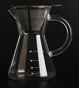Better Coffee Pour Over Coffee Maker   Hand Blown High Borosilicate Glass Double Walled Stainless Steel Filter   Perfect for Cold Brew Coffee - Hand Drip Coffee Maker   500ml – 24 oz (6 Cups)