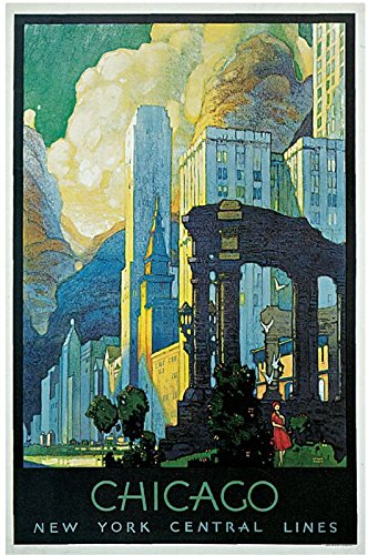 MAGNET 1929 New York Chicago Illinois Lines Art Vintage Travel Advertising Magnet Print