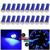 blue lights dash - CCIYU 20 Pack Blue T5 3-3014 SMD Wedge LED Light Bulbs 74 17 18 37 70 73 2721 for Instrumental Cluster Gauge Dashboard