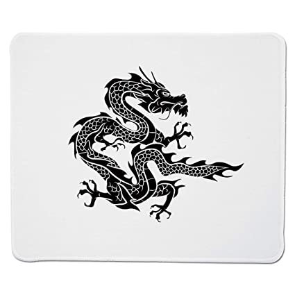 22aa093d83258 Yanteng Gaming Mouse Pad Japanese Dragon,Cultural Zodiac Icon Monochrome  Graphic Style Eastern Dragon Claws Scales,Black White Stitched Edge:  Amazon.in: ...