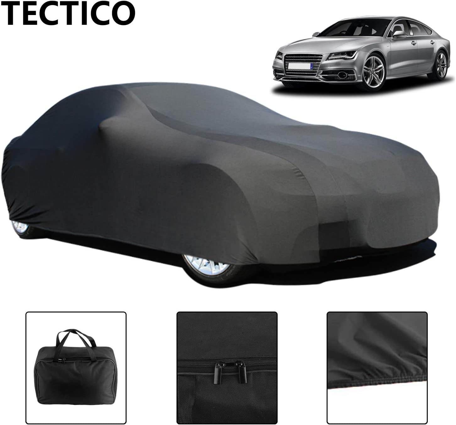 Black TECTICO Indoor Sports Car Cover Velvet Stretch Elastic Dustproof Anti-Wrinkle Auto Full Protection for Underground Garage//Car Show