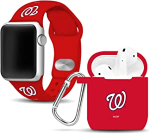 Washington Nationals Silicone Sport Combo Package Compatible with Apple Watch and Airpods Battery Case (38mm/40mm - Red/Red)
