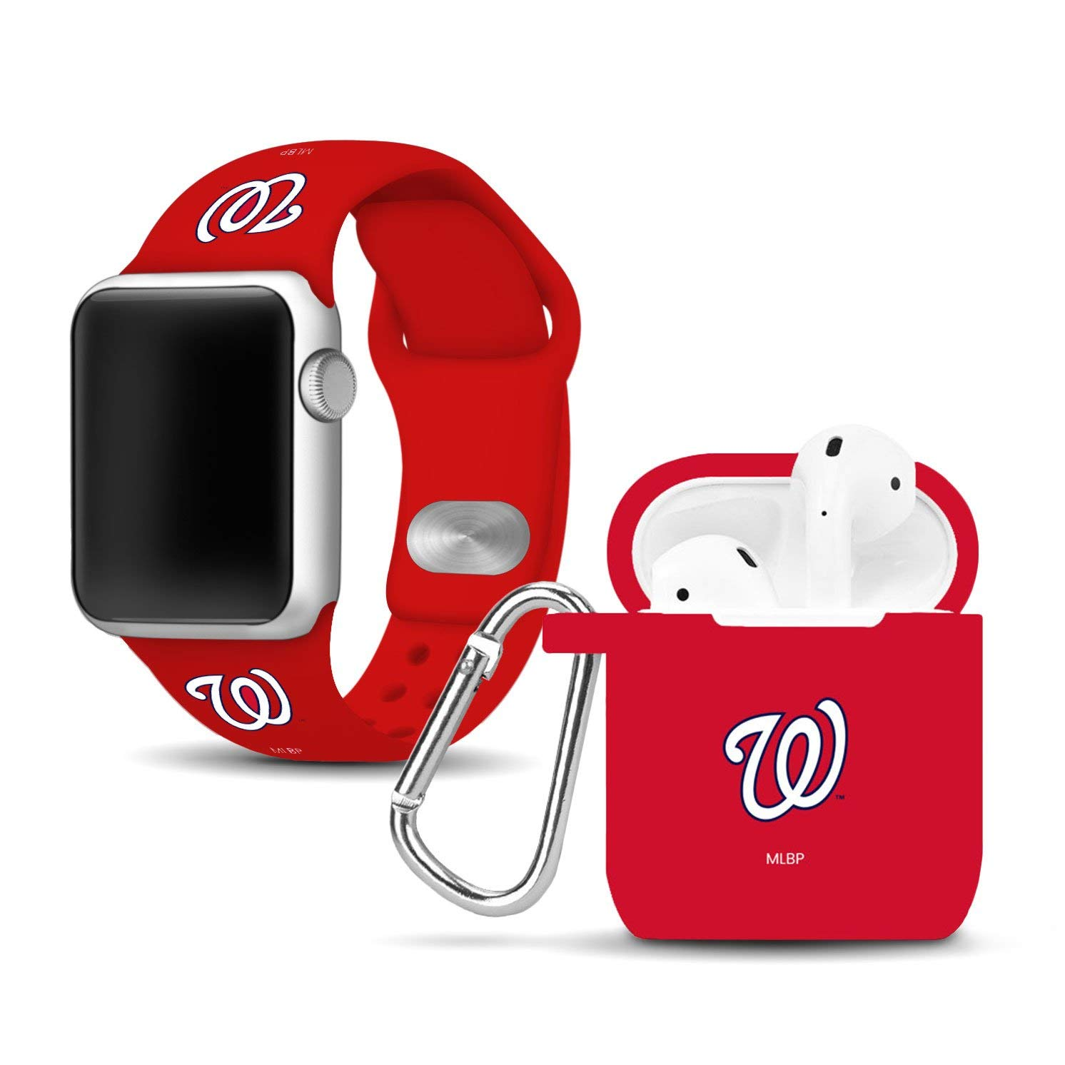 Washington Nationals Silicone Watch Band and Case Cover Combo Compatible with Apple Watch and AirPod Case(38mm/40mm) by Game Time