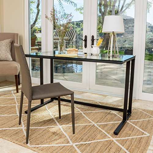 Christopher Knight Home 296626 Eghan Clear Tempered Glass Computer Desk, Black