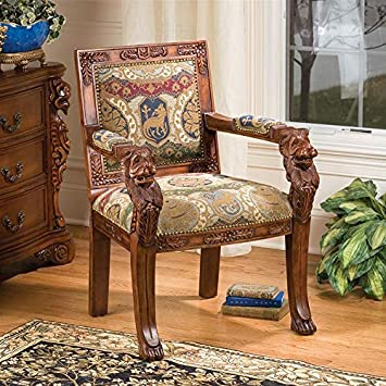 Design Toscano AF51351 Beardsley Heraldic Lion Fabric Arm Chair