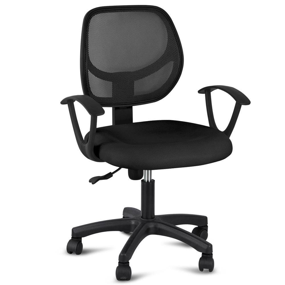 Topeakmart Adjustable Swivel Computer Desk Office Chair with Arms Seating Back Rest Fabric Mesh (Black)