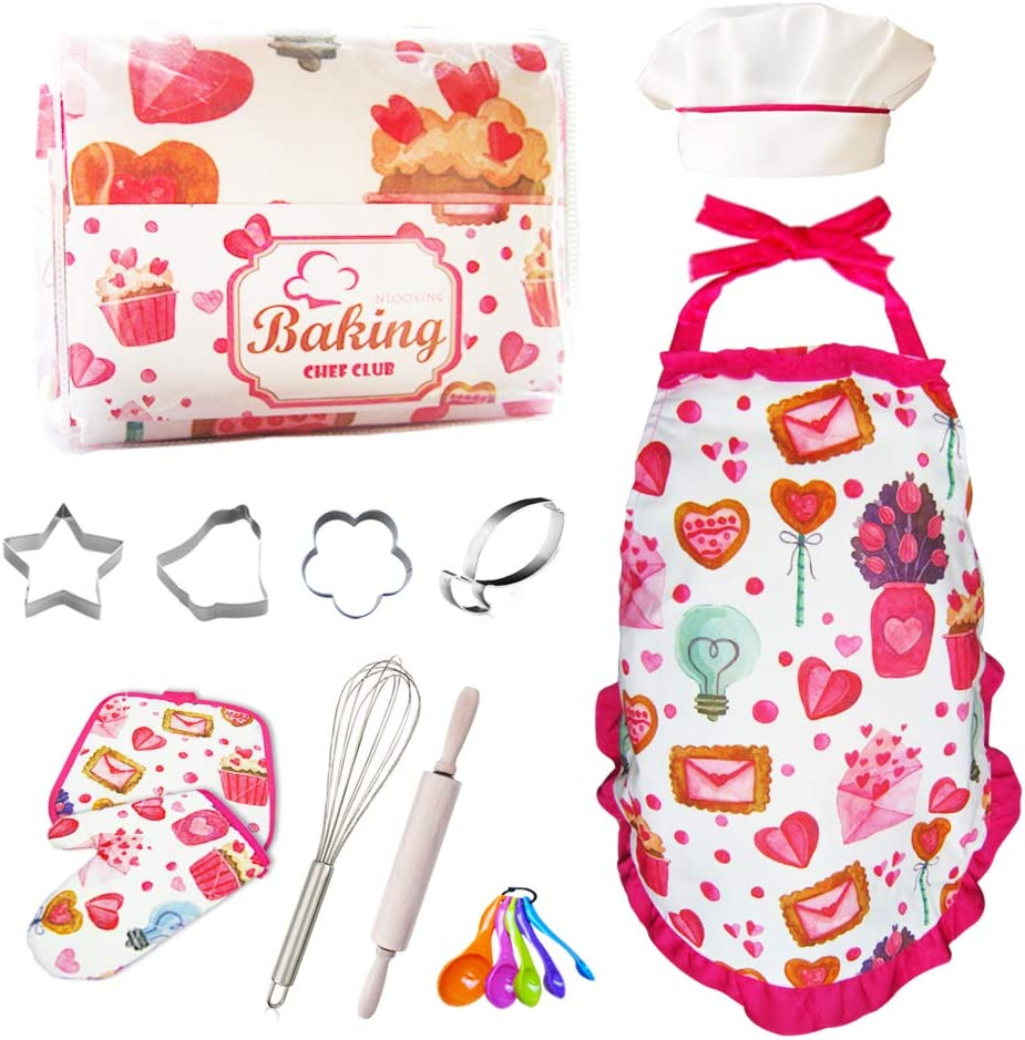 Kids Baking Sets for Girls Real,Kids Cooking Set with Cupcake and Heart Apron for Girls,Chef Hat,Oven Mitt for Toddler Dress Up,Pretend Play Chef Role Playing Costumes,Ages 3+