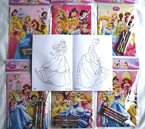 12 Sets of Disney Princesses Coloring Books and Crayon Set Children Party Favors Bag Filler by Coloring Book