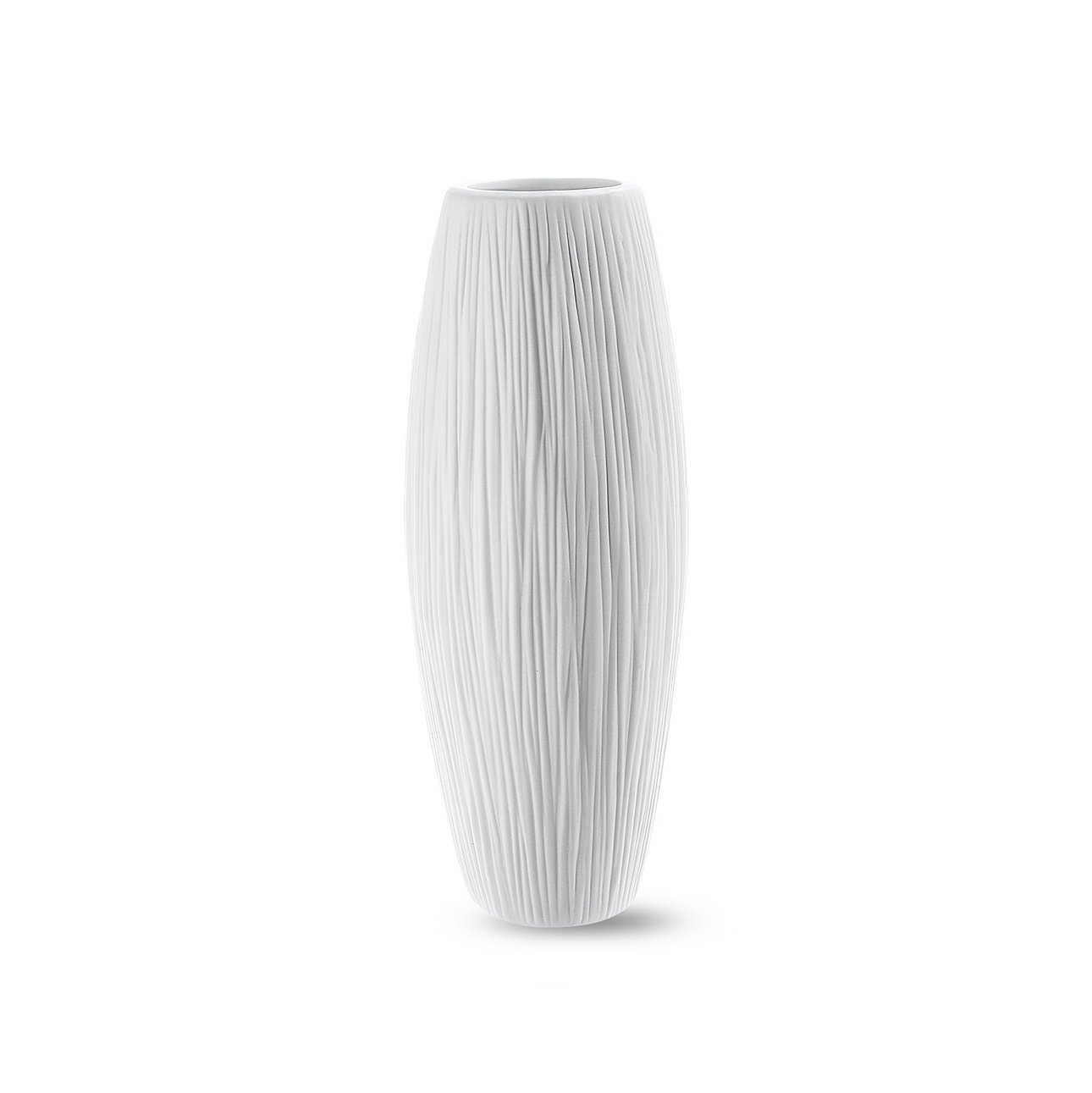 8'' Small Oval Pure White Ceramic Flower Vase - Waterfall Textured Elegant Design - Ideal Gifts for Friends and Family