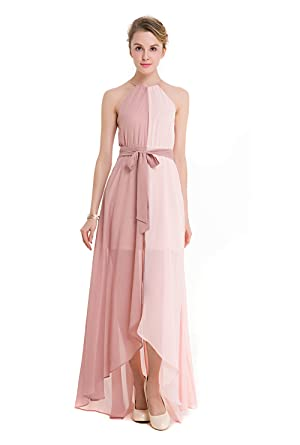 CoCo Fahion Damen Sommer Chiffon Maxikleid Halter Lang Kleider Party ...