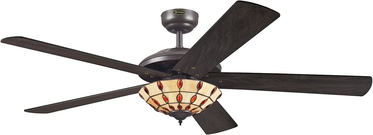 Westinghouse Lighting Comet Tiffany Ventilador de Techo E14, 60 W, Espresso