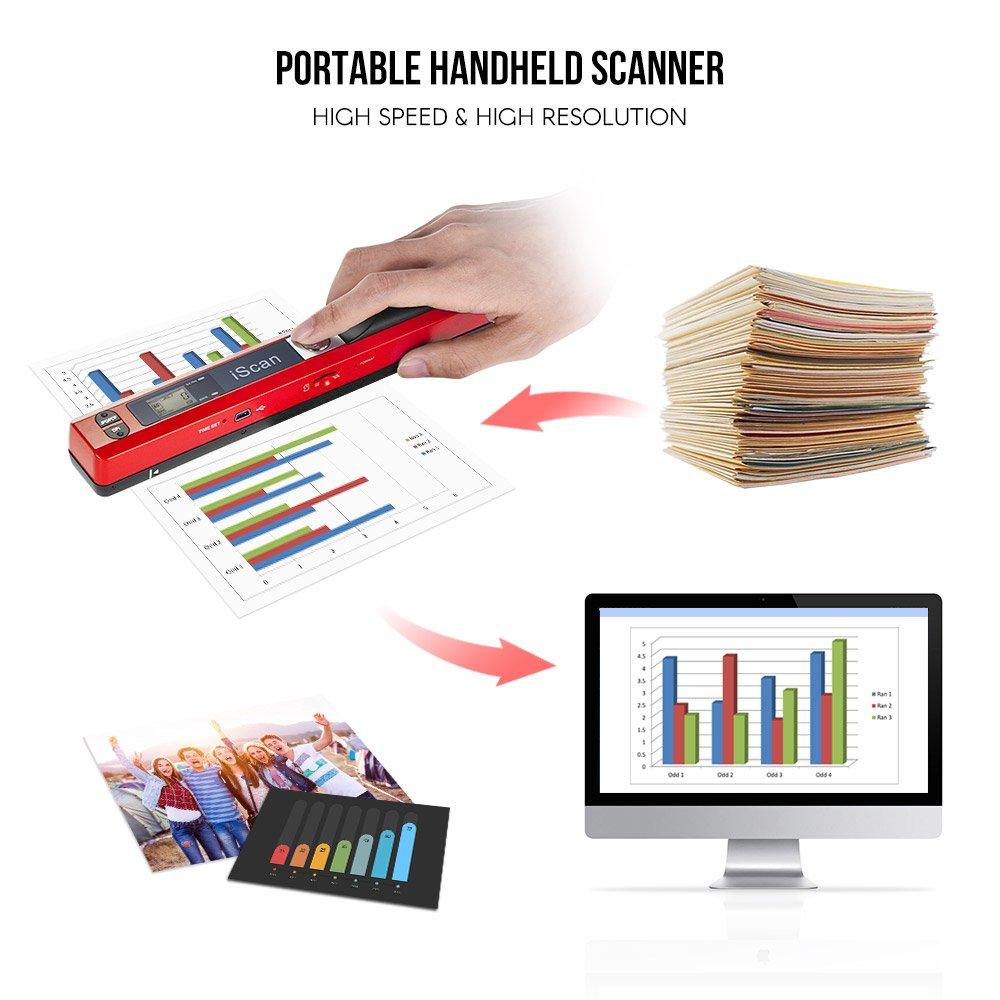 JPG PDF LCD avec sac de protection USB 2.0 Argent Aibecy A4 Scanner de Poche Scanner de Documents 900DPI Format