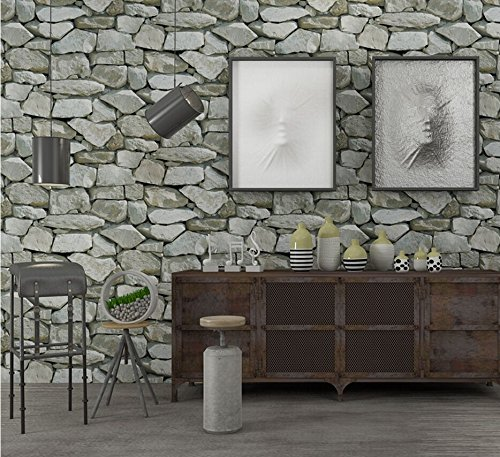 - Rock Wallpaper-Stone Peel and Stick Wallpaper -Contact Paper-Easily Removable Paper-Stacked Brick 3D Stone Wallpaper roll Grey Brick Wallpaper Wall Background for Living Room Vinyl Wallpar(57804)