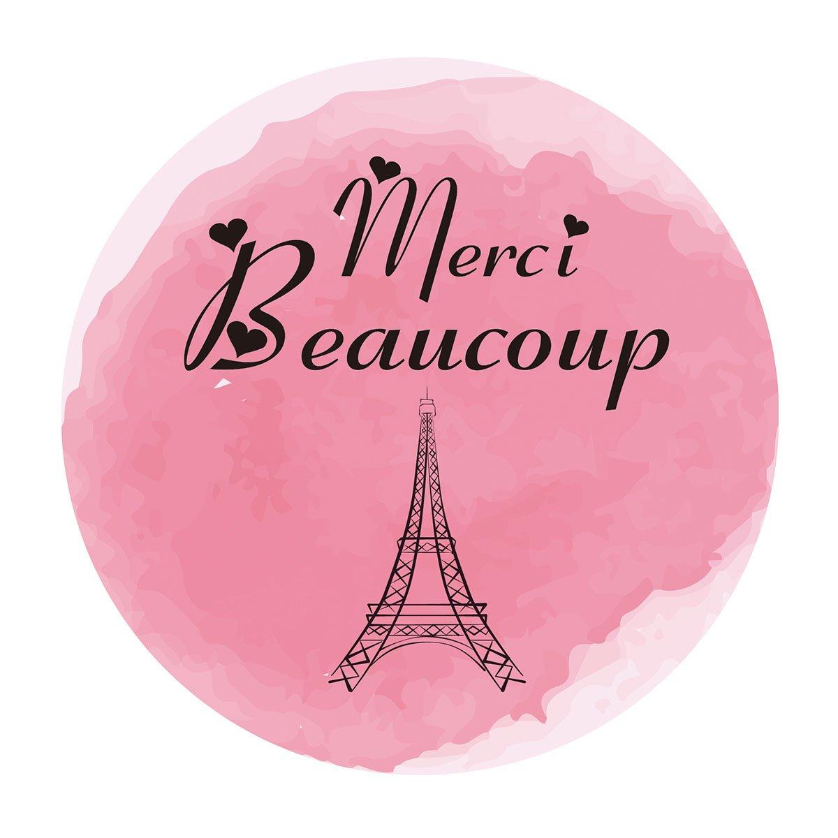 Amazon.com: Paris Thank you Stickers, Merci beaucoup Pink Girl Baby ...