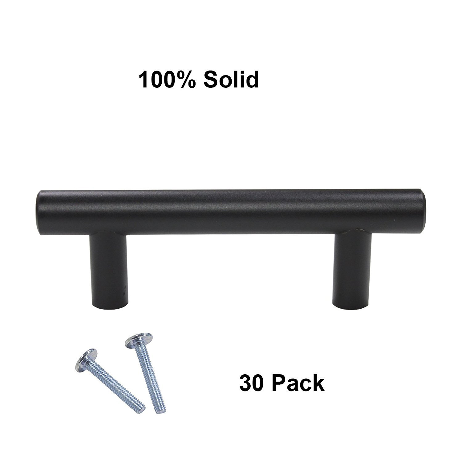 Gobrico Hole Centers 1-1/2'' (64mm) Solid Stainless Steel Cabinet Cupboard Kitchen Handle T Bar in Black Whole Length 4'' (100mm) 30Pack