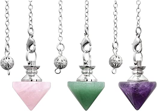 12 Facet Top Plaza Natural Healing Rose Quartz Dowsing Pendulum Necklaces for Divination Wicca Reiki Charged Gemstone Pendant Pendulum
