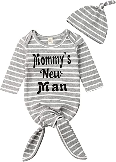 Baby Boys Girls Cute Long Sleeve Stripes Swaddle Wrap with Hat Letters Print Night Gown Sleepwear