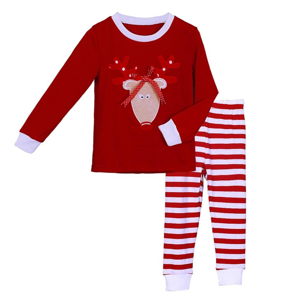 Pettigirl Girls 2 Piece Clothing Set Red Reindeer Striped Pajamas 2-7 Y CS41111-02-CA