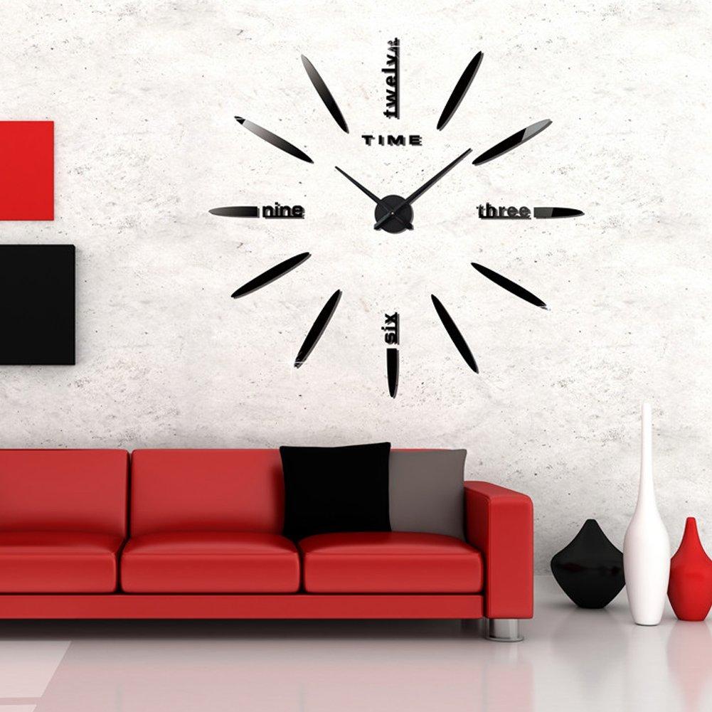 FAS1 Grande Horloge Murale Moderne DIY Big Montre Art Stickers 3D Miroir Effet Horloge Murale Amovible Home Office D/écoration Batterie Non Inclus Argent