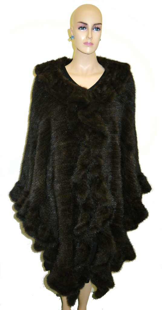 Women's Mink Knit Layered Shawl Unique Style - Brown