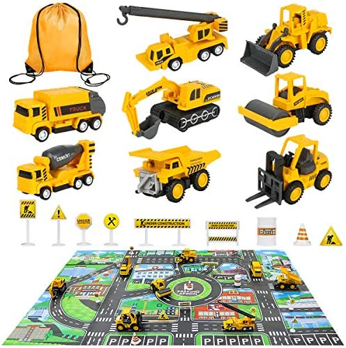 Meland Construction Vehicles Truck Toys Set with Play Mat – 8 Mini Engineer Pull Back Cars, 22.7×32.7Inch Playmat & 12 Road Signs, Toy Car Set for Boys Toddlers Birthday Christmas 3+ Year Old
