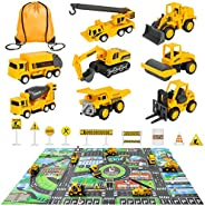 Meland Construction Vehicles Truck Toys Set with Play Mat - 8 Mini Engineer Pull Back Cars, 22.7x32.7Inch Play
