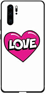 Okteq Case Cover for Huawei P30 Pro Shock Absorbing PC TPU Full Body Drop Protection Cover matte printed - white pink heart sticker By Okteq