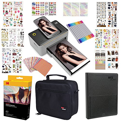 Kodak Dock 4x6'' Printer Gift Bundle + 40 Paper + 9 Unique Colorful Sticker Sets + Case + Markers + Photo Album + Sticker Frames by Kodak
