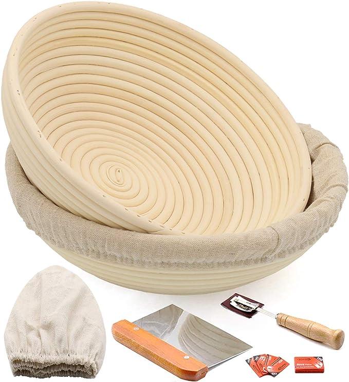 Luntus 2 Pcs Round Bread Proofing Basket Natural Rattan Sourdough Proving Basket Professional Bread Proving Bowl Baking Bowl Dough Gift Baker Proof Basket Proofing Box. 2, 22cmx8cm