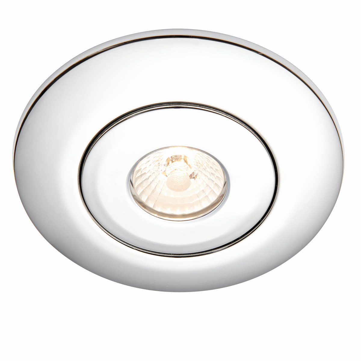 Modern Satin Nickel Low Voltage to 240V Mains Voltage GU10 Recessed Downlight Converter - Converts Holes ranging from Approx. 65mm to 125mm National Lighting