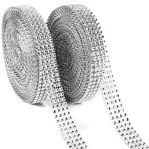 (Rhinestone Ribbon - 2-Pack 10-Yard Silver Diamond Mesh Wrap Roll for DIY, Wedding Cake Decorations, Birthday Party Supplies, 0.75 inches in Width)