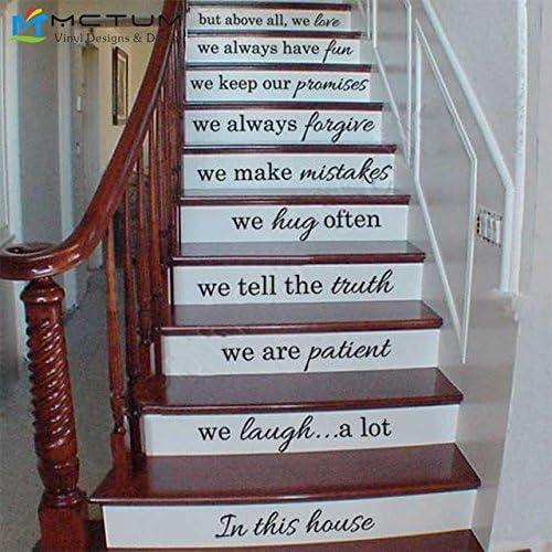 Escalera de vinilo Decals-In Esta casa hacemos presupuesto adhesivos para la decoración de la escalera vertical - Escalera Sticker adhesivo presupuesto familiar - ESCALERA: Amazon.es: Hogar