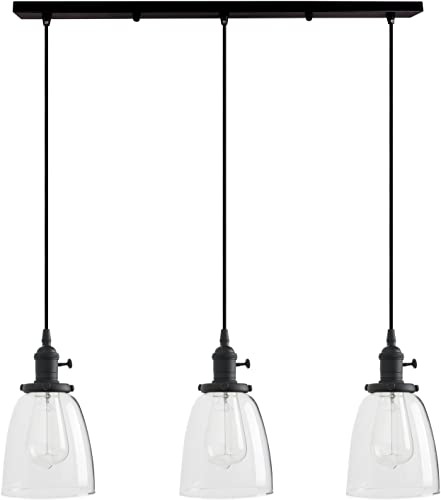 Permo Vintage Rustic Industrial 3-Lights Kitchen Island Chandelier Triple 3 Heads Pendant Hanging Ceiling Lighting Fixture with Oval Cone Clear Glass Shade Black