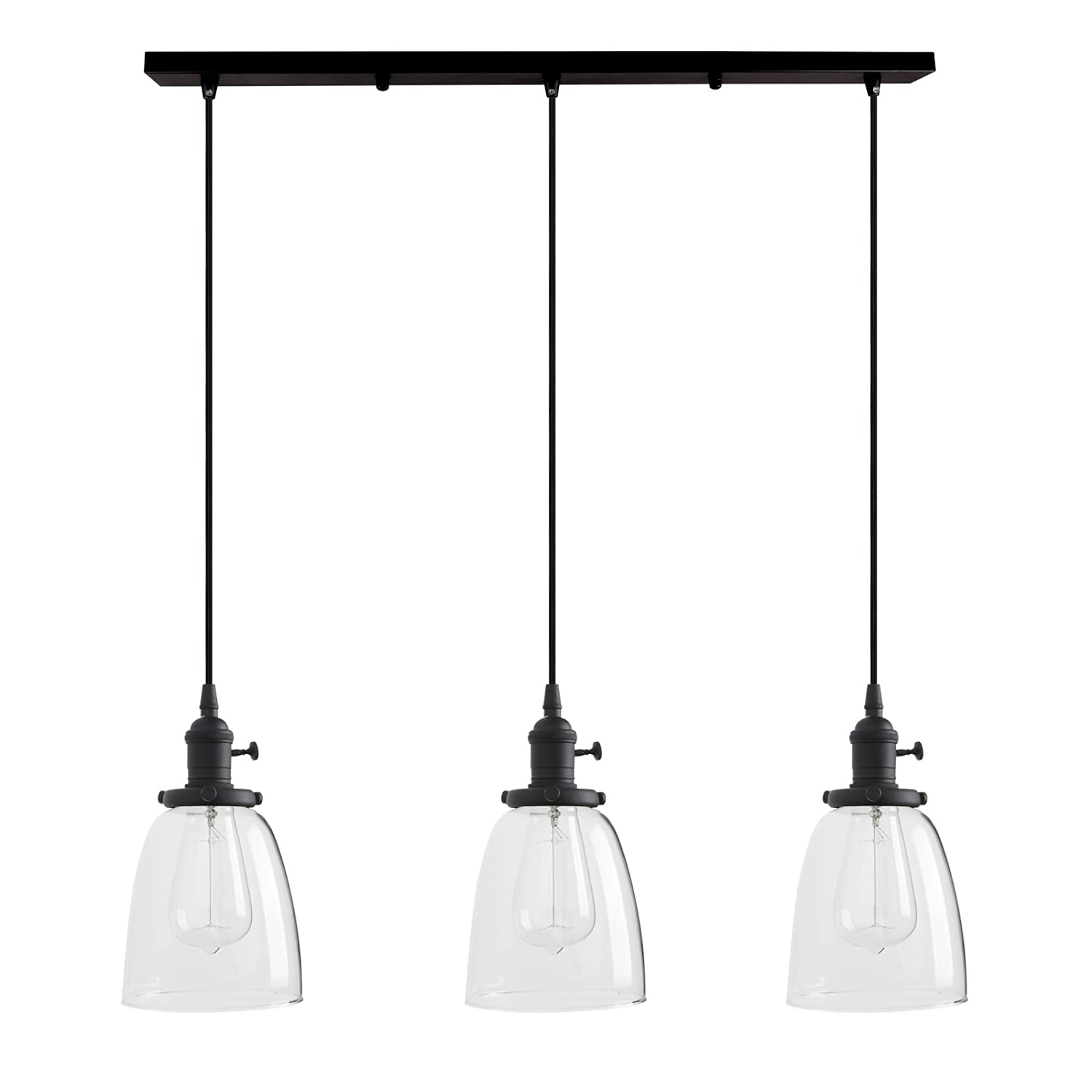Permo Vintage Rustic Industrial 3-Lights Kitchen Island Chandelier Triple 3 Heads Pendant Hanging Ceiling Lighting Fixture with Oval Cone Clear Glass Shade (Black)