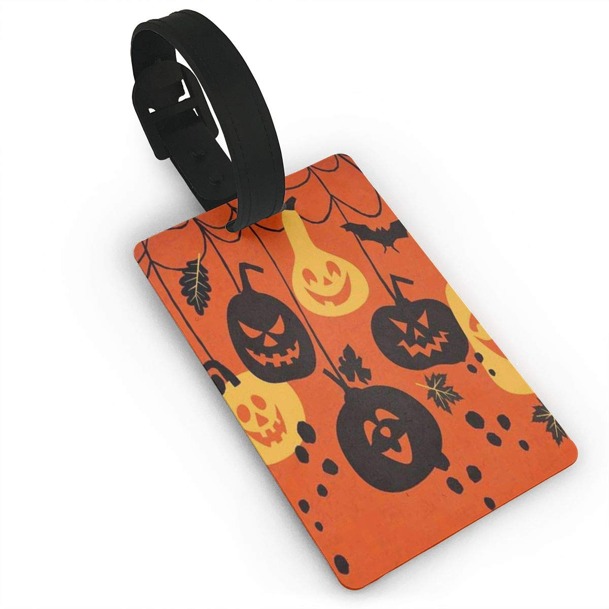 Airealy Luggage Tag Happy Halloween Castle Bat Pumpkin Business ID Card Holder for Travel BaggageTags Suitcase Labels Bag Travel Accessories Set of 2