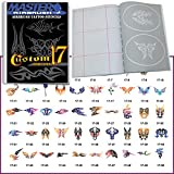 Temporary Tattoo Stencils Booklet Set 17 with 50 Different Self-Adhesive Reusable Stencil Designs