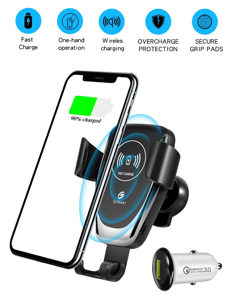 Gifbest Wireless Charger Car Mount, 10W/7.5W Fast Charging Gravity Phone Holder on Air Vent/Dashboard for iPhone Xs MAX/XS/XR/X/8/8+, Samsung S10/S10+/S9/S9+/S8/S8+ and Other QI Enabled Devices by Gifbest